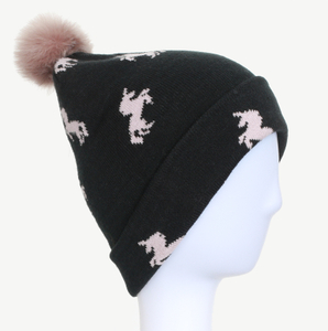 100% Acrylic Horse Jacquard Cuffed Knitted Winter Beanie Hat with colorful pompom