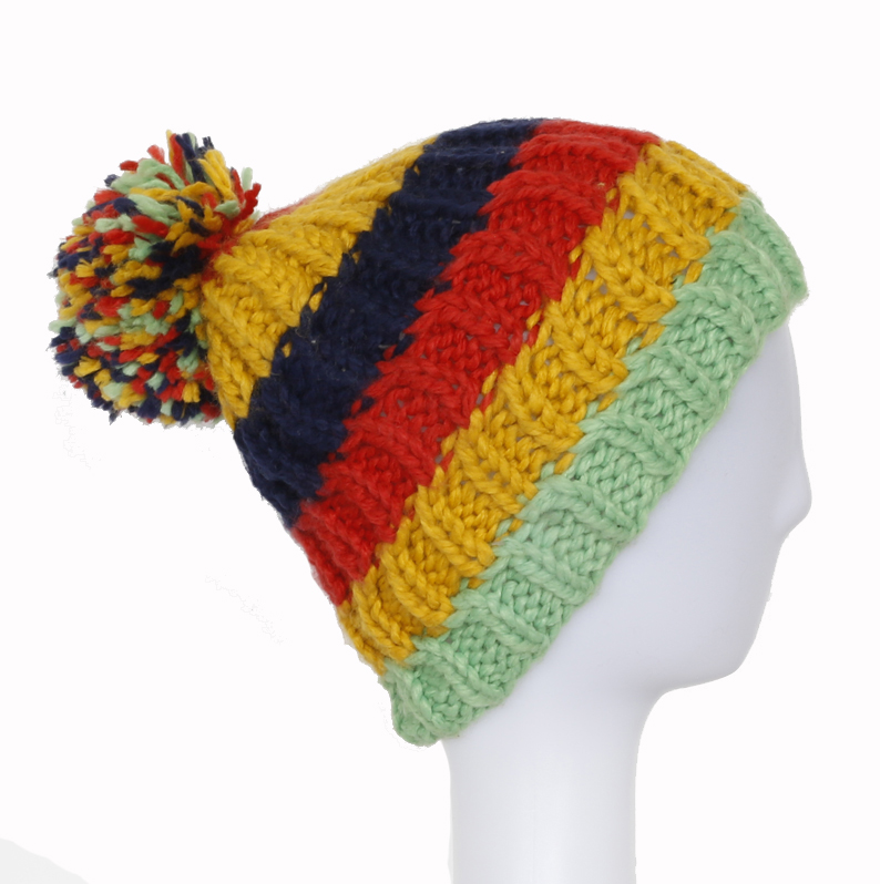 Customized Simple Beanie Knitted Winter Hat with Ball