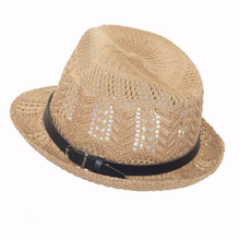 Unisex Fashion Paper Straw Beach Hat with PU Leather Crown Band