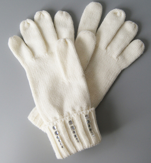 Women Acrylic Knitted Glove Wholesale Small MOQ Hot Sale Winter Glove with Sequin Patch