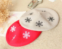 2018 New Design Lady Fashion Wool Beret Cap Printed Hat Winter Spring Hot sale Beret