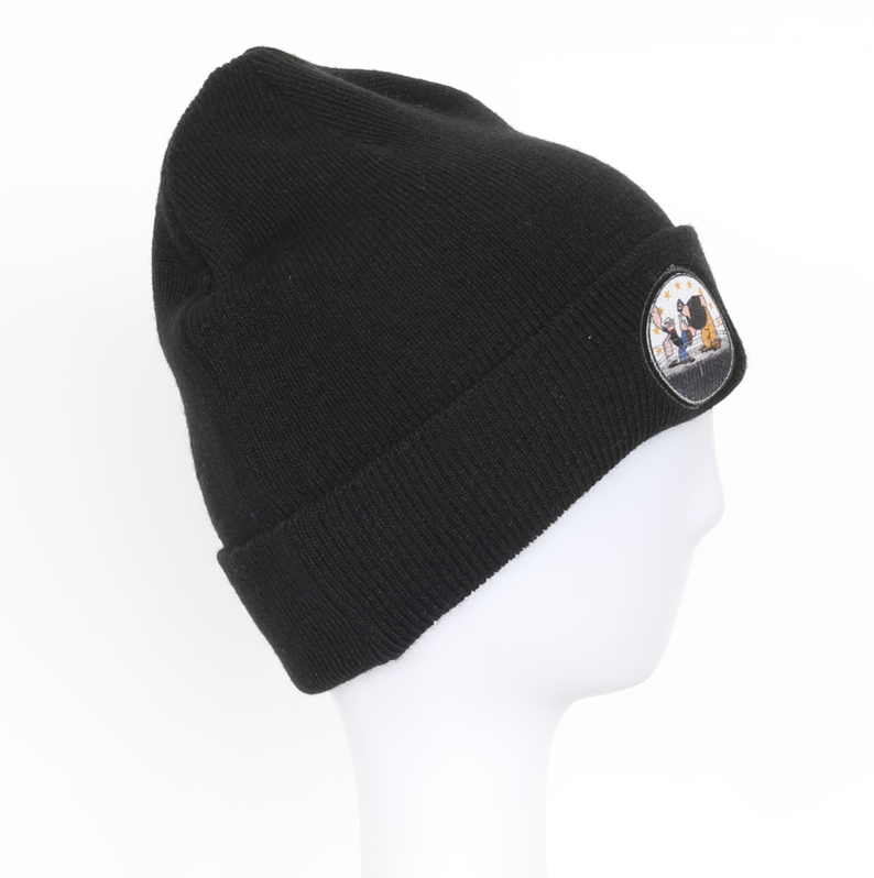 Unisex Fashion 100% Acrylic Cuffed Knitted Winter Beanie Hat with Printed Patch