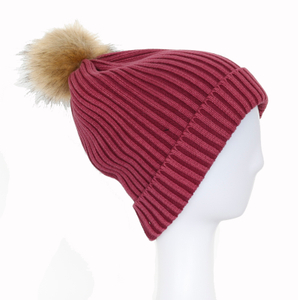 2018 New Design Wholesale Customized Simple Beanie Knitted Winter Cuffed Hat with Ball